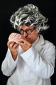 Genius professor with brain