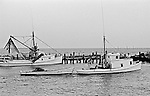 Ambrose Fulcher, of Atlantic, built the LINDA (left) in 1939 for John Weston Smith, who named it for his daughter. The LINDA was constructed as a runboat to fetch fish caught by long-haulers, but in this photo she was rigged out as a shrimp boat. The WASTED WOOD was built in 1933 by Will Mason, also from Atlantic, for the long-haul fishing trade. In the 1950s Atlantic's Charles Smith acquired the boat, rebuilt her, and renamed the vessel the DAVID M. for his son. In 1979 John &quot;Buster&quot; Salter purchased the boat and fished her until the late 1990s, when she was abandoned in the marsh.