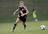 BOYDS, MARYLAND-JULY 07,2012:  Ashley Herndon (19) of DC United Women against the Dayton Dutch Lions during a W League game at Maryland Soccerplex, in Boyds, Maryland. DC United women won 4-1.