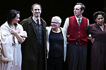 Katrina Lenk, Richard Topal, Paula Vogel, Max Gordon Moore and Mimi Lieber during the Broadway Opening Night Performance Curtain Call Bows for  'Indecent' at The Cort Theatre on April 18, 2017 in New York City.