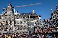 just half of the spectacular start podium in the center square of the (new) race start town of Antwerpen<br /> <br /> 101th Ronde Van Vlaanderen 2017 (1.UWT)<br /> 1day race: Antwerp &rsaquo; Oudenaarde - BEL (260km)