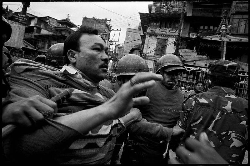 Kathmandu, Nepal, February 18th, 2005.On February 1st, King Gyanendra has decreted a state of emergency, suspending all democratic rights. About 15 demonstrators from the Nepal Congress Party have been arrested on Democracy Day.