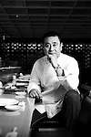 World-renowned Japanese chef Nobu Matsuhisa sits at the counter ofhis restaurant in central Tokyo, Japan.