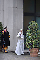 Pope Francis  returns home Santa Marta  after the angelus in Vatican.February 15, 2015