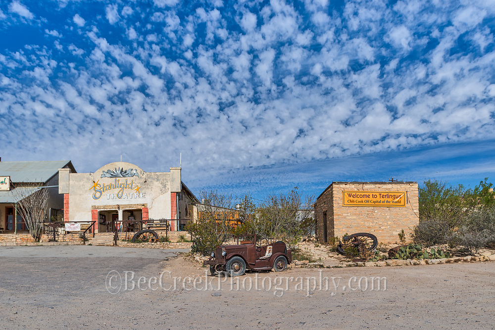 Another capture of the Starlight Theater and the outhouse  with this old jeep and wagon wheels.  Just part of the quirky decor of the place. The orginal location of the Terlingua Chili cook off.