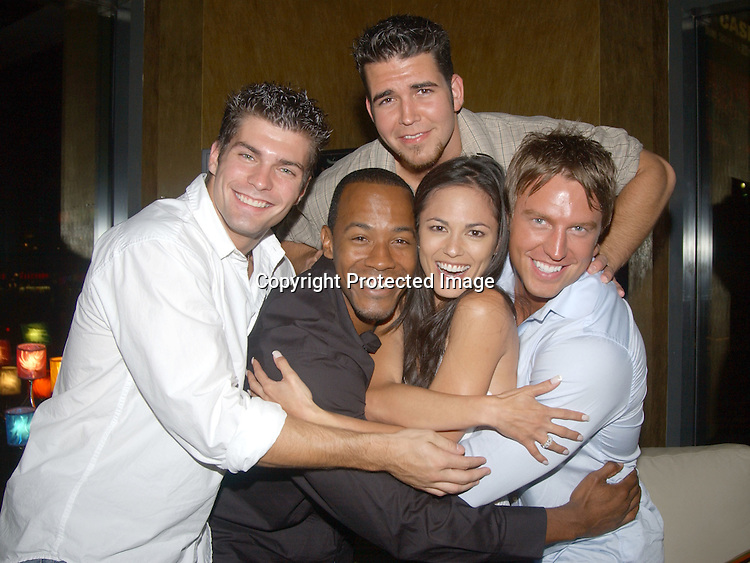 ..Jamie Newton, McKinley Freeman, Terri Ivens, Douglas Seibert and in back Andrew Springer ..at a party for the finalists in All My Children's Sexiest Man ..Alive Contest at Planet Hollywood  on September 13, 2003. Photo by Robin Platzer, Twin Images