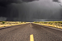 Utah state road 89 just east of Kanab with a torrential rain storm in the distance.