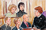 ©PRISCILLA COLEMAN 04.02.05.SUPPLIED BY PHOTONEWS SERVICE LTD .DRAWING SHOWS: MUSICIAN ALAN WASS,23 AND  PETE DOHERTY AT HIGHBURY AND ISLINGTON MAGISTRATES COURT WHERE THEY ARE FACING CHARGES OF BLACKMAIL AND ROBBERY..SEE STORY.