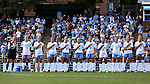 16 September 2016: UNC's starters during the national anthem. From left: Lindsey Harris, Hannah Gardner, Dorian Bailey, Maggie Bill, Cameron Castleberry, Megan Buckingham, Julia Ashley, Zoe Redei, Darcy McFarlane, Annie Kingman, and Bridgette Andrzejewski. The University of North Carolina Tar Heels hosted the North Carolina State University Wolfpack in a 2016 NCAA Division I Women's Soccer match. NC State won the game 1-0.