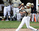 Beacon Falls, CT- 24 April 2017-042417CM08- Woodland's Jason Claiborn makes contact with the ball during their baseball matchup against Crosby on Monday.   Christopher Massa Republican-American