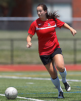Aztec MA defender Jenna Roncarati (15) looks to pass. In a Women's Premier Soccer League (WPSL) match, Aztec MA defeated CFC Passion, 4-0, at North Reading High School Stadium on July 1, 2012.