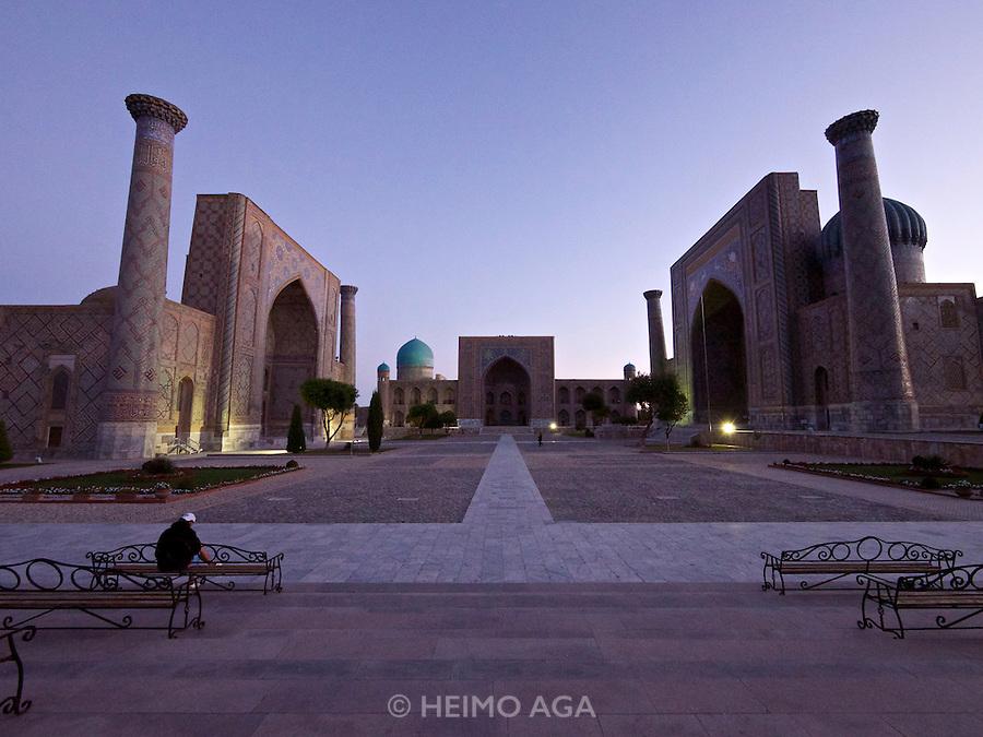 Uzbekistan, Samarqand.<br /> Registan ensemble at dusk.