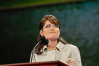Alaska Governor and Republican Vice President nominee Sarah Palin speaking at the 2008 Republican National Convention at the Excel Center in St. Paul, Minnesota.