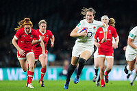 Emily Scarratt of England takes on the Canada defence. Old Mutual Wealth Series International match between England Women and Canada Women on November 26, 2016 at Twickenham Stadium in London, England. Photo by: Patrick Khachfe / Onside Images