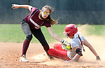 WOLCOTT CT. 15 April 2017-041517SV01-#10 Alaya Greene of Wolcott High beats the throw to second while stealing 2nd as #33 Molly Kennedy of Naugatuck High gets the throw in the 3rd inning during NVL softball action in Wolcott Saturday.<br /> Steven Valenti Republican-American