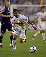 Monarcas Morelia forward Elias Hernandez (77) moves to a loose ball. The New England Revolution defeated Monarcas Morelia in SuperLiga 2010 group stage match, 1-0, at Gillette Stadium on July 20, 2010.