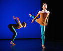 """London, UK. 20.11.2013. Michael Clark Company in a piece set to """"Albatross"""" by Public Image Limited, at the Barbican. Dancers are: Harry Alexander, Julie Cunningham, Melissa Hetherington, Oxana Panchenko, Daniel Squire and Benjamin Warbis.  Picture shows: Oxana Panchenko and Melissa Hetherington. Photograph © Jane Hobson."""