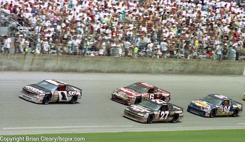Terry Labonte (1, Oldsmobile), Rusty Wallace (27 Pontiac), Mark Martin (6, Ford) and Sterling Marlin (94, Oldsmobile) in action during the Pepsi 400 at Daytona International Speedway, Daytona Beach, FL, July 7, 1990 (Photo by Brian Cleary/www.bcpix.com)