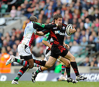 Twickenham, GREAT BRITAIN,  Saracens, Adam POWELL,  running through to score a second half try, challenged, by Quins, Ugo MOYNE, during the Guinness Premiership match,  Saracens vs Harlequins, at Twickenham Stadium, Surrey on Sat 06.09.2008. [Photo, Peter Spurrier/Intersport-images]