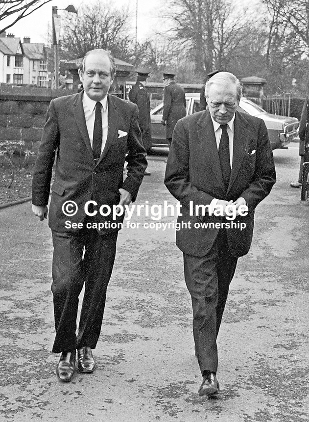 Memorial Service, Stormont Presbyterian Church, Belfast, N ireland, for Brian Faulkner, former first minister of N Ireland - UK Conservative MPs, John Biggs-Davidson (left) and Airey Neave arriving. 168/77, 197703110168c<br /> <br /> Copyright Image from Victor Patterson,<br /> 54 Dorchester Park, Belfast, UK, BT9 6RJ<br /> <br /> t1: +44 28 90661296<br /> t2: +44 28 90022446<br /> m: +44 7802 353836<br /> <br /> e1: victorpatterson@me.com<br /> e2: victorpatterson@gmail.com<br /> <br /> For my Terms and Conditions of Use go to<br /> www.victorpatterson.com