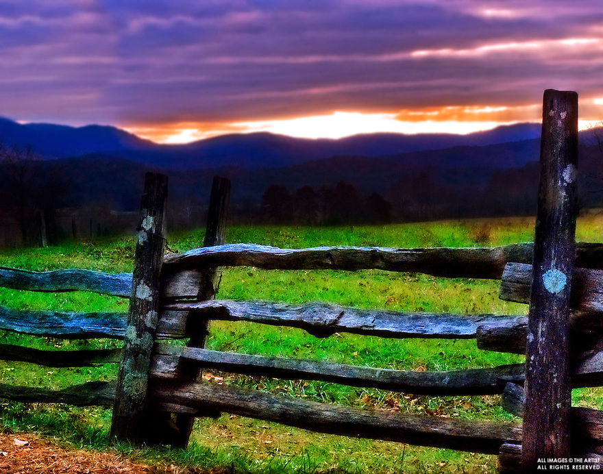 Cades Cove at sunset, Great Smoky Mountains, USA. (Photo by Carmen K. Sisson/www.cloudybright.com)
