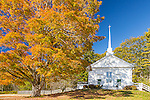 Autumn color at the North Sedgwick Baptist Church in Sedgwick, Maine, USA