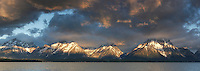 Panorama, Jackson Lake with Teton Mountain Range at sunrise, Grand Teton National Park, Wyoming, USA.