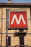 Metro Sign Transport in Milan, Italy
