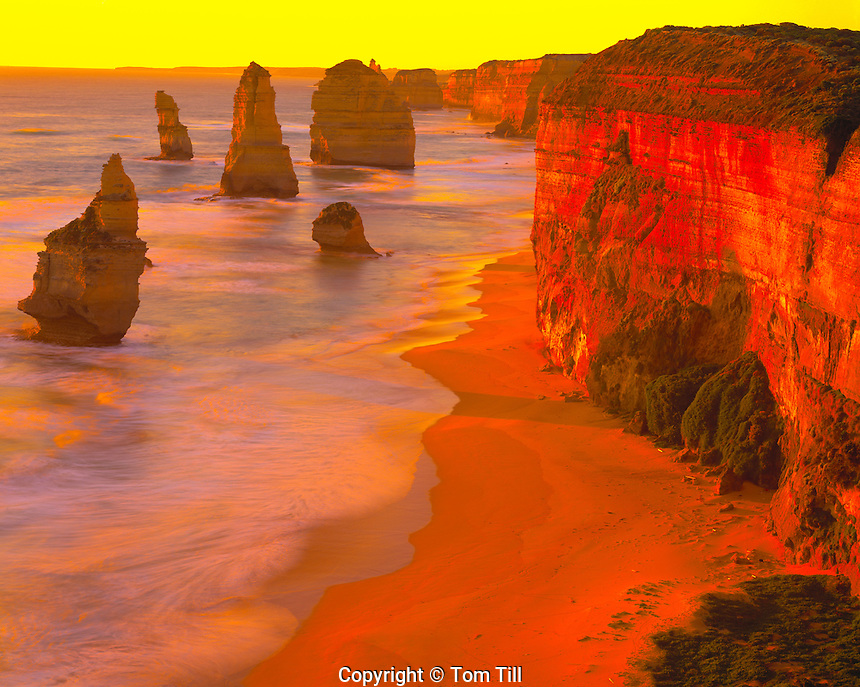 The Twelve Apostles, Port Cambell National Park, Victoria, Australia   South Pacific Ocean at sunset