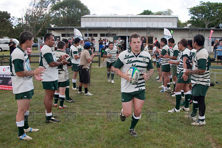 Manurewa Captain Mark Selwyn leads his team out for the  Counties Manukau Rugby Union Premier Club Game of the week between Manurewa & Waiuku played at Mountfort Park, Manurewa, on Saturday 4th April 2009..This yearly fixture between the 2 clubs is also a day to commemorate All Black Great Pat Walsh, who played for both clubs during his career. Manurewa won the game 35  - 30 after leading 21 - 9 at halftime.