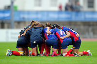 The Spain team huddle together prior to the match. FISU World University Championship Rugby Sevens Women's 7th/8th place match between Spain and PR China on July 9, 2016 at the Swansea University International Sports Village in Swansea, Wales. Photo by: Patrick Khachfe / Onside Images