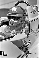 INDIANAPOLIS, IN: Johnny Rutherford waits to drive the Chaparral 2K/Cosworth during practice for the Indianapolis 500 on May 25, 1980, at the Indianapolis Motor Speedway.