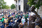 Sep 8, 2012; Fans gather to welcome the football players as they walk into the stadium before the home opener against Purdue...Photo by Matt Cashore/University of Notre Dame