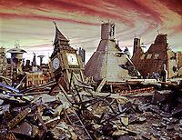 End of the World, Ruins,  Movie Set, Fiery Sky