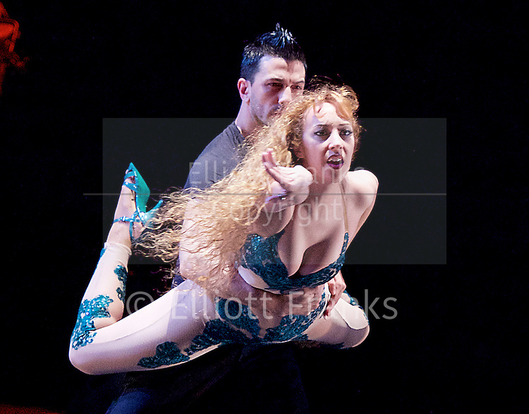 Tango Fire <br /> at The Peacock Theatre, London, Great Britain <br /> press photocall <br /> 30th January 2017 <br /> <br /> German Cornejo's Tango Fire<br /> <br /> <br /> <br /> <br /> Libertango <br /> <br /> Sebastian &amp; Victoria <br /> <br /> <br /> <br /> <br /> <br /> Photograph by Elliott Franks <br /> Image licensed to Elliott Franks Photography Services