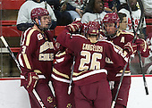 Ian McCoshen (BC - 3), Johnny Gaudreau (BC - 13), Austin Cangelosi (BC - 26), Bill Arnold (BC - 24) - The visiting Boston College Eagles defeated the Harvard University Crimson 5-1 on Wednesday, November 20, 2013, at Bright-Landry Hockey Center in Cambridge, Massachusetts.