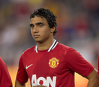 Manchester United FC defender Rafael Da Silva (21). In a Herbalife World Football Challenge 2011 friendly match, Manchester United FC defeated the New England Revolution, 4-1, at Gillette Stadium on July 13, 2011.