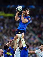 Yoann Maestri of France wins the ball at a lineout. RBS Six Nations match between France and England on March 19, 2016 at the Stade de France in Paris, France. Photo by: Patrick Khachfe / Onside Images