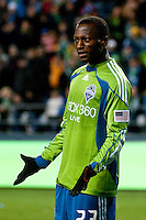 Sanna Nyassi reacts to a referee's call as the Seattle Sounders lost to the New York Red Bulls, 1-0, in an MLS match on Saturday, April 3, 2010 at Qwest Field in Seattle, WA.