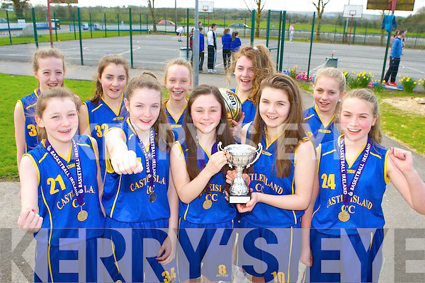 The Castleisland Community College basketball team that won the u14 National Cup in Tallagh last Wednesday front row l-r: Maurice Casey, Labhaoise Walmsley, Nicole Downey, Maebh Young, Denny Porter. Back row: Laura Fleming, Aisling O'Connell, Sarah O'Sullivan, Shauna Ahern, Siobhain Collins, Danielle Reidy and Saoirse Murphy
