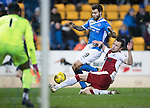 St Johnstone v Rangers&hellip;28.12.16     McDiarmid Park    SPFL<br />Richie Foster is tackled by Danny Wilson<br />Picture by Graeme Hart.<br />Copyright Perthshire Picture Agency<br />Tel: 01738 623350  Mobile: 07990 594431
