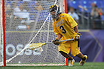 29 MAY 2011:  Johnny Rodriguez (3) of Salisbury University makes a save against Tufts University during the Division III Men's Lacrosse Championship held at M+T Bank Stadium in Baltimore, MD.  Salisbury defeated Tufts 19-7 for the national title. Larry French/NCAA Photos