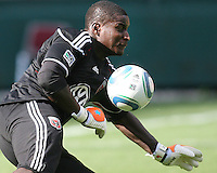 Bill Hamid #28 of DC United makes a save at a practice session for DC United and AC Milan at RFK Stadium in Washington DC on may 25 2010.