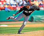 12 March 2011: New York Yankees' pitcher Hector Noesi on the mound during a Spring Training game against the Washington Nationals at Space Coast Stadium in Viera, Florida. The Nationals edged out the Yankees 6-5 in Grapefruit League action. Mandatory Credit: Ed Wolfstein Photo