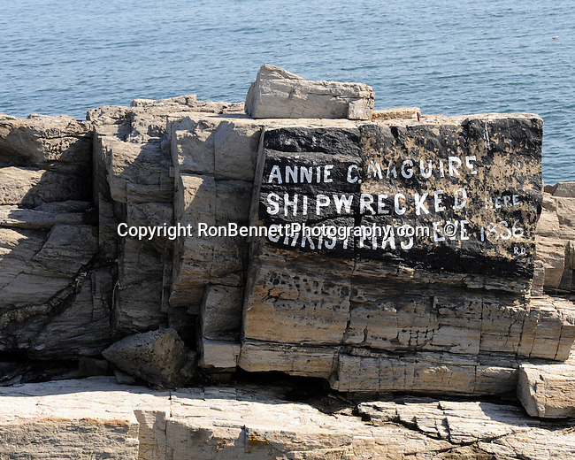 Annie C. Maguire shipwrecked Christmas Eve 1886 Portland Head Light Fort Williams Cape Elizabeth Maine, Portland Head Light Fort Williams 1791 Cape Elizabeth Maine, Maine, New England region of northeatern United States, boardered by Atlantic Ocean to the east and south, Maine is the northermost and easternmorst portion of New England, jagged rocky coastline, rolling mountains, heavily forested interior picturesque waterways, seafood cuisine, lobster and clams, European settlement in Maine was 1604, 23rd state March 15 1820, Dirigo, Maine is The Pine Tree State, Maine Stock and Fine Art Photography.  All Rights Reserved RonBennettPhotography.com All Photographs for SALE.