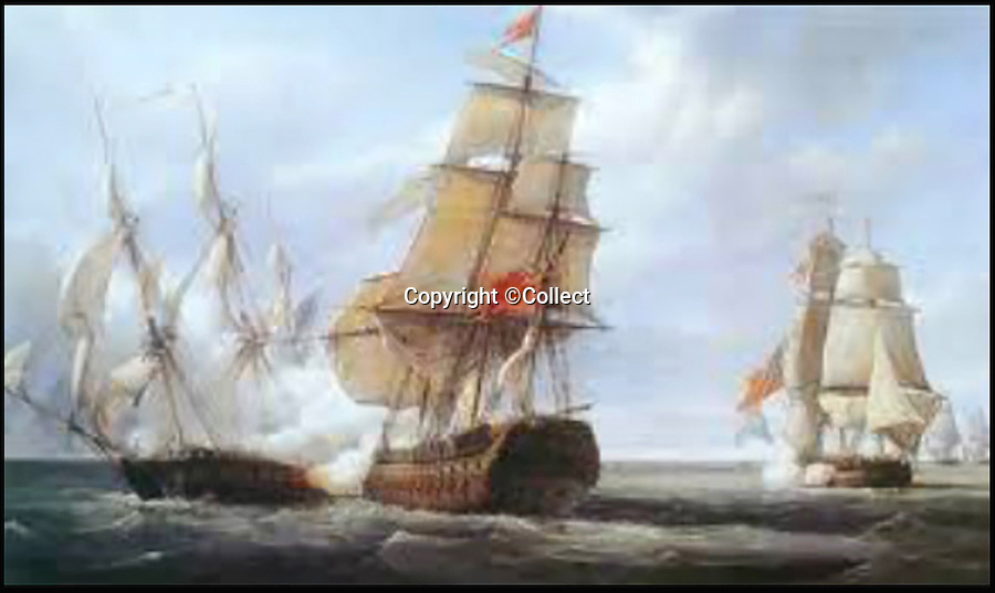 BNPS.co.uk (01202 558833)<br /> Pic: Collect/BNPS<br /> <br /> HMS Leviathan (centre).<br /> <br /> A 'lost' Union Jack flown at the Battle of Trafalgar and said to be worth &pound;250,000 has been unearthed by a descendant of a sailor who won it as part of a bet.<br /> <br /> The giant flag, that is peppered with holes from musket balls and splinter fragments, is one of just three from the famous 1805 battle known to exist today.<br /> <br /> It has been kept folded up in a cupboard in the castle home of the family that has owned it for 170 years. It wil be sold next March at Holt's Auctioneers of Norfolk.