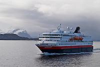Hurtigruten, Norwegain coast steamer, sailing north under storm skies, Norway