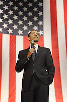 Barack Obama speaks to a crowd of 8,000 plus in San Antonio at the Verizon Wireless Ampitheater prior to the March 4 Texas Primary  (Marvin Pfeiffer/PressPhotoIntl.com)