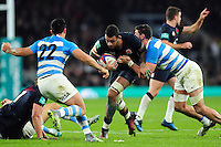 Courtney Lawes of England takes on the Argentina defence. Old Mutual Wealth Series International match between England and Argentina on November 26, 2016 at Twickenham Stadium in London, England. Photo by: Patrick Khachfe / Onside Images