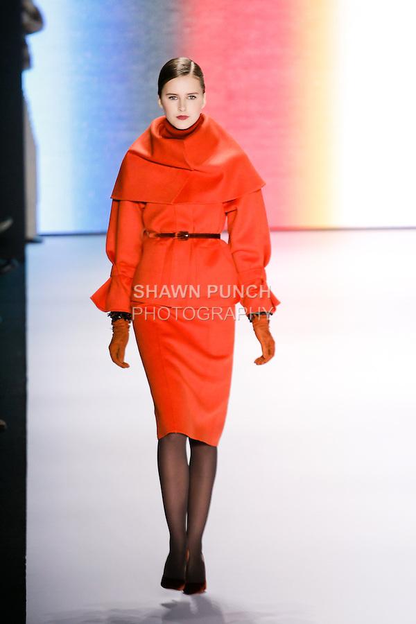 Lisanne De Jong walks runway in an outfit from the Carolina Herrera Fall 2011 collection, during Mercedes-Benz Fashion Week Fall 2011.
